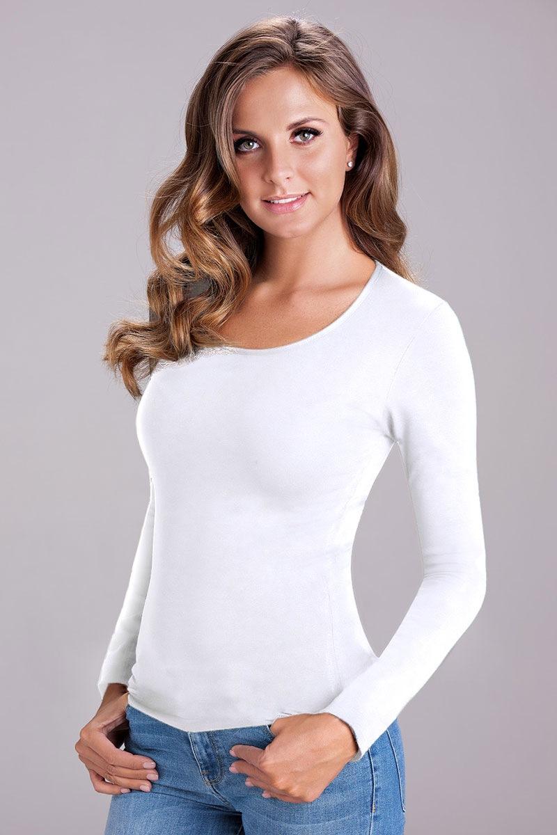 Damska bluzka bawełniana z długim rękawem Nika White - 3503White_tri