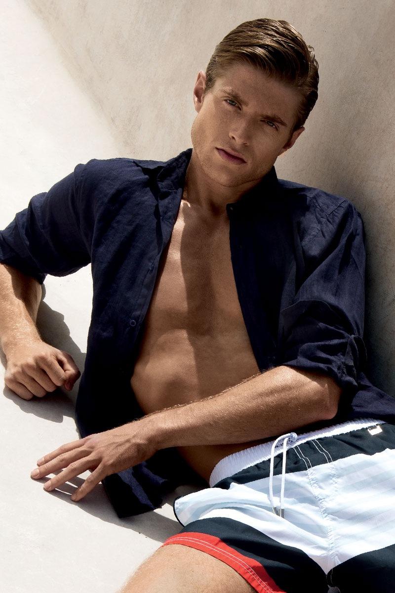 Męska koszula lniana z włoskiej kolekcji David 5181 - 5181KSBlu_kos