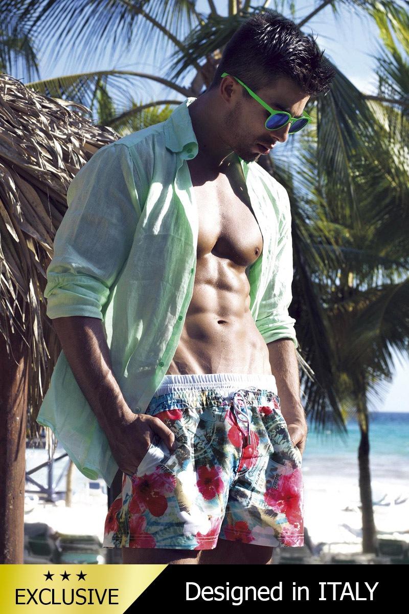 Luksusowe męskie szorty kąpielowe włoskie 5950D2 - krótsze nogawki - 5950D2