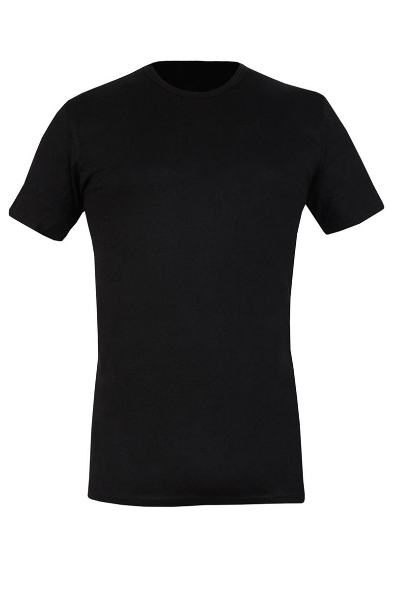 Bawełniany T-shirt męski czarny 090 - AU090Black_tri