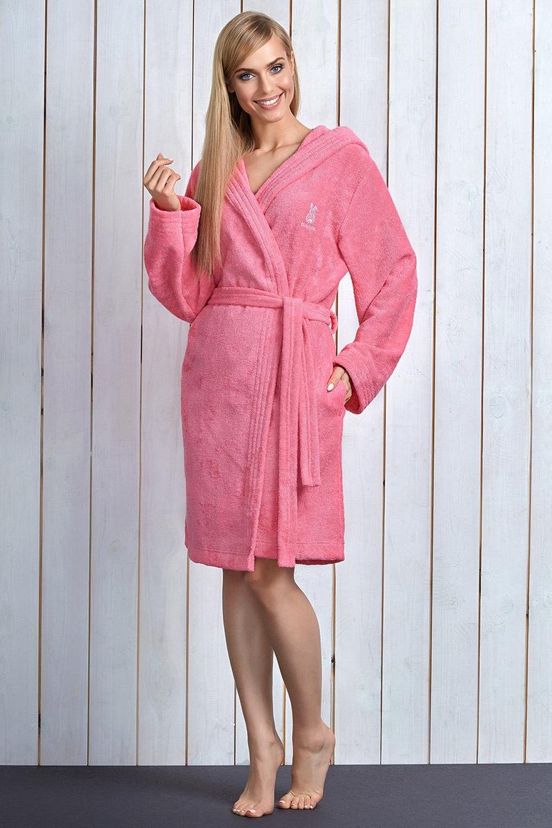 Damski szlafrok Alba Pink z włókna bambusowego - AlbaPink_zup