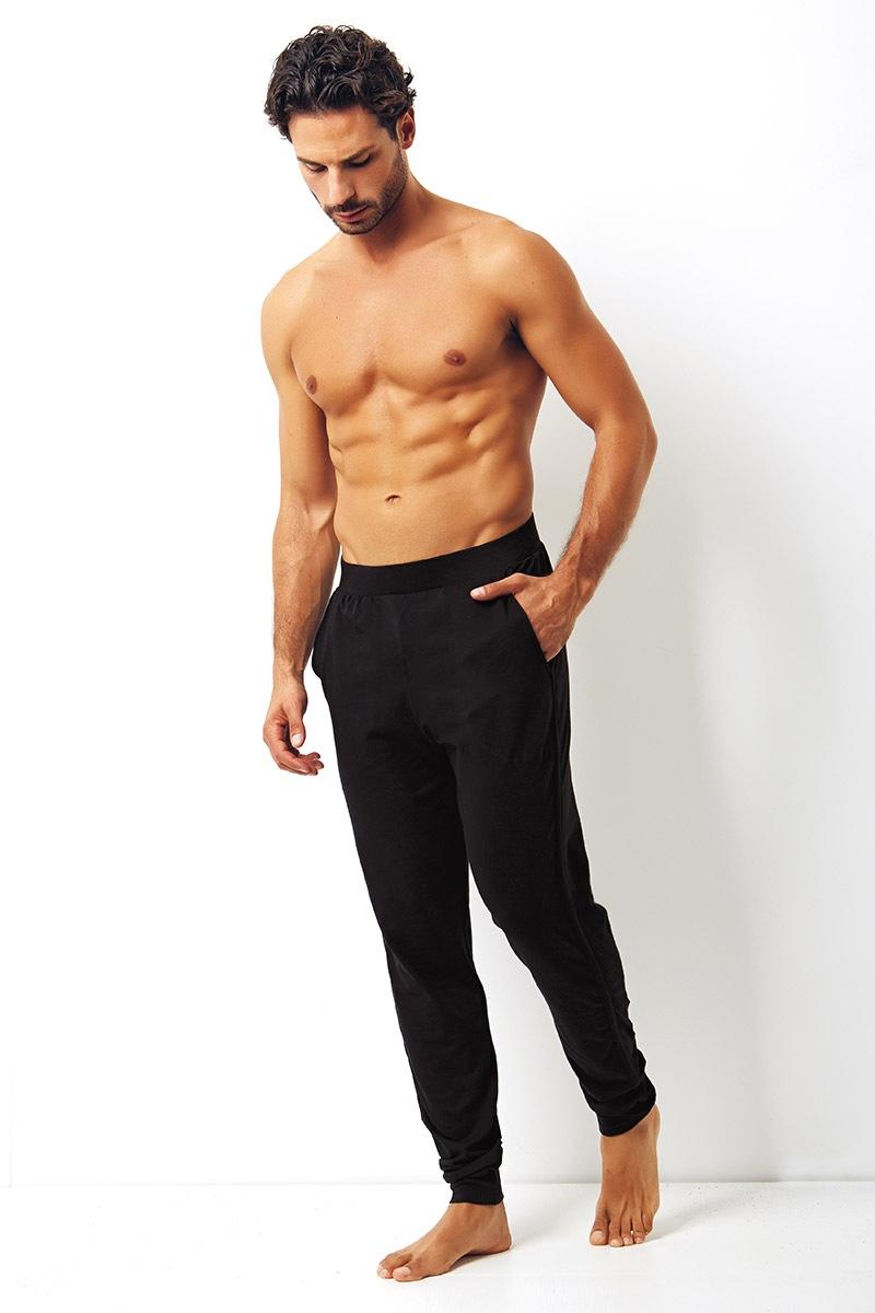 Męskie spodnie bawełniane Enrico Coveri czarne - EA2000Nero_kal