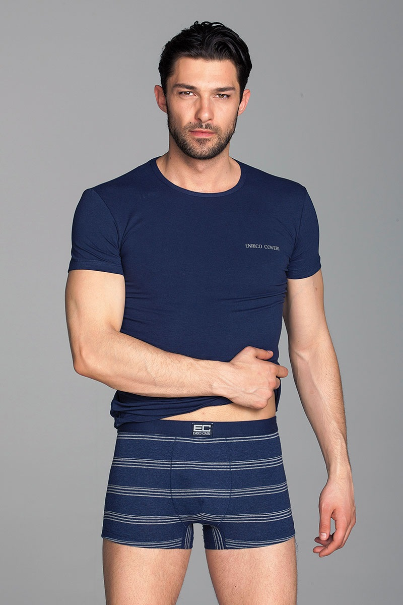 Komplet męski Alex1 - T-shirt, bokserki - EC1594Blu_set