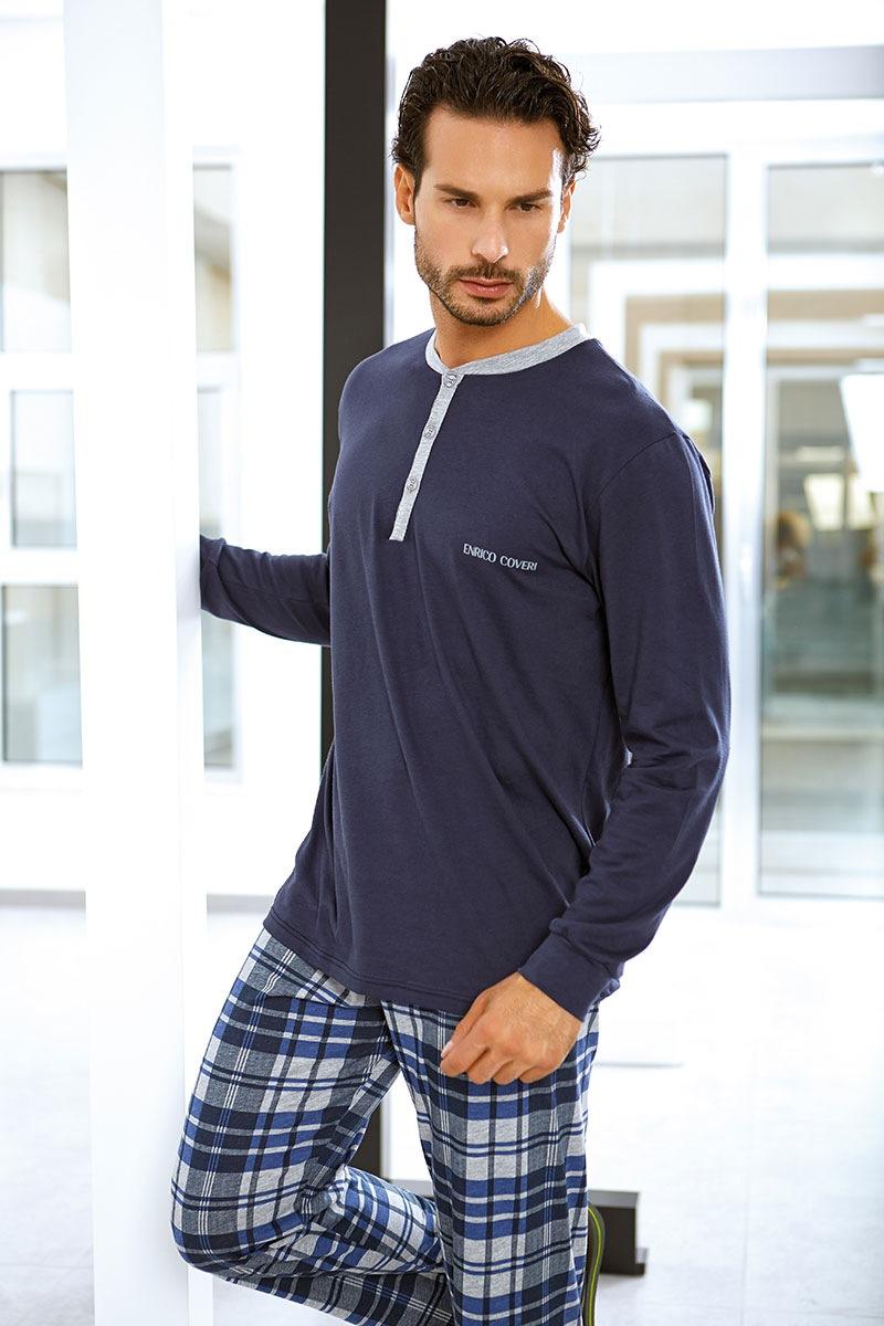 Męski komplet bawełniany Flavio - bluza, spodnie - EP8005Blue_set