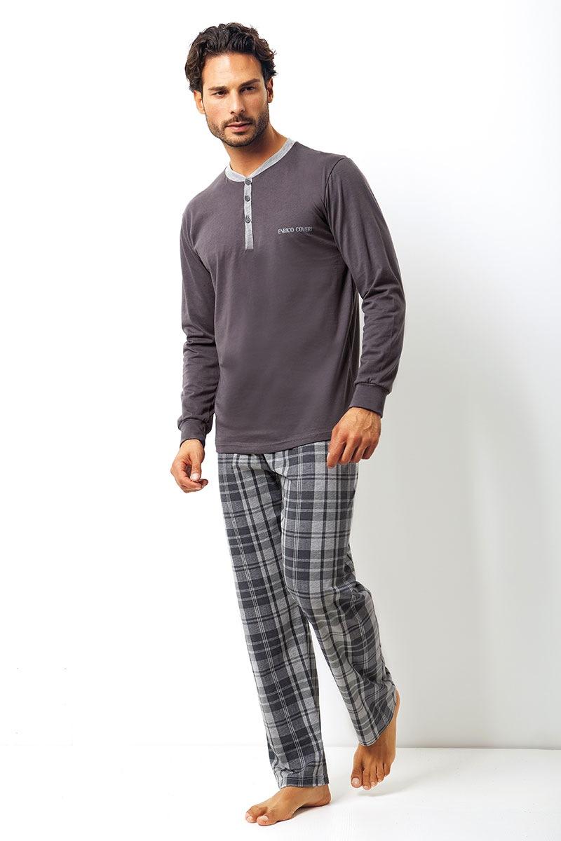 Męski komplet bawełniany Placido - bluza, spodnie - EP8005Grey_set
