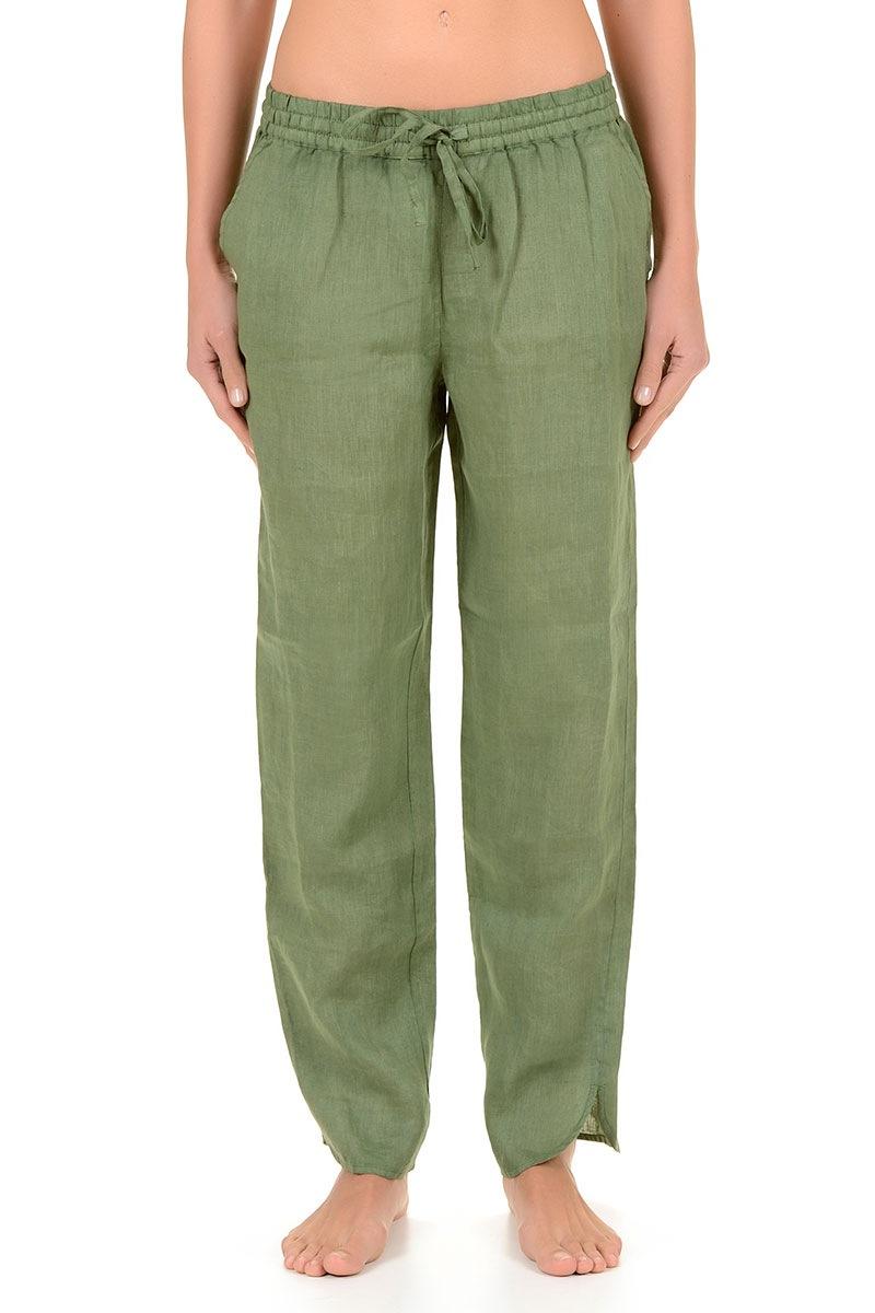 Lniane spodnie damskie Kimberly z kolekcji Iconique - IC7051Gr_kal
