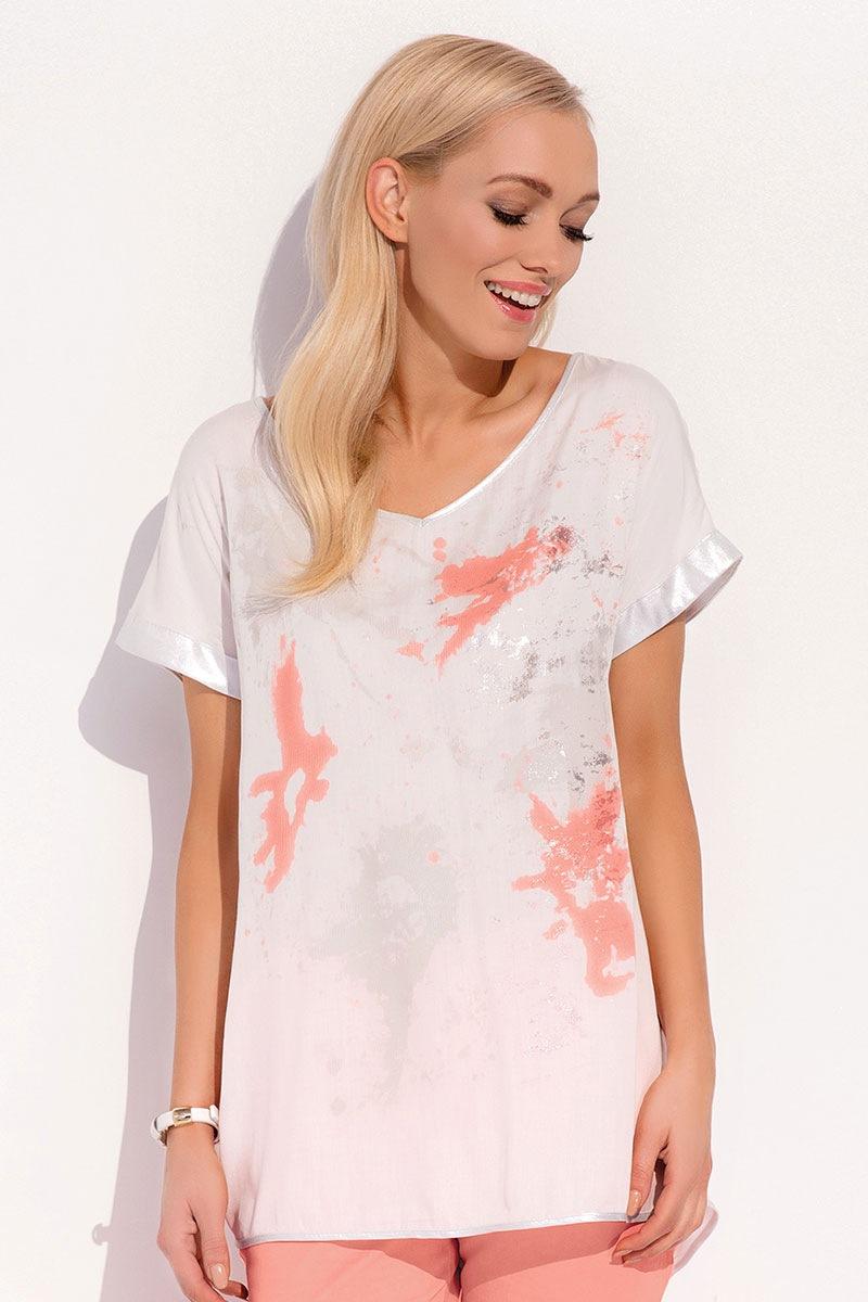 Luksusowa damska bluzka z krótkimi rękawami Kloe White