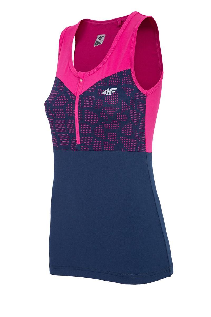 Damska koszulka sportowa 4F bez rękawów Pink - RKD003_F_tri