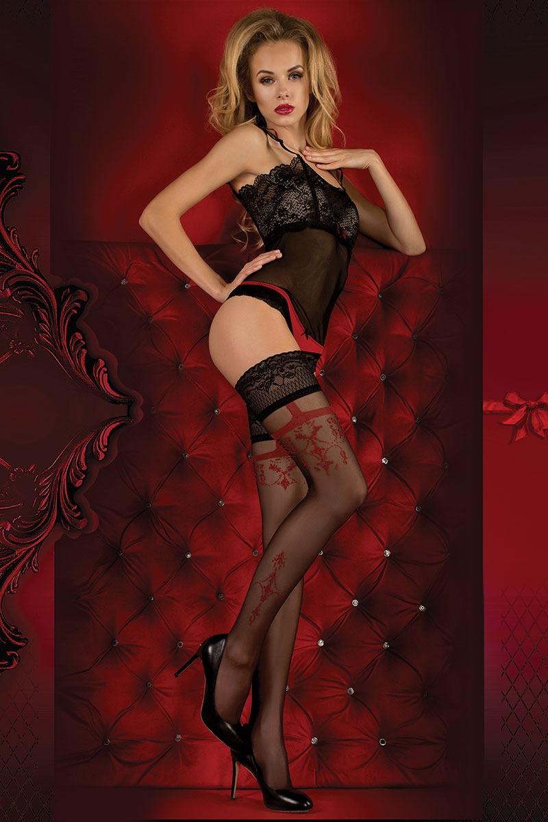 Luksusowe pończochy Red Intense 343 - RedIntens343_pun