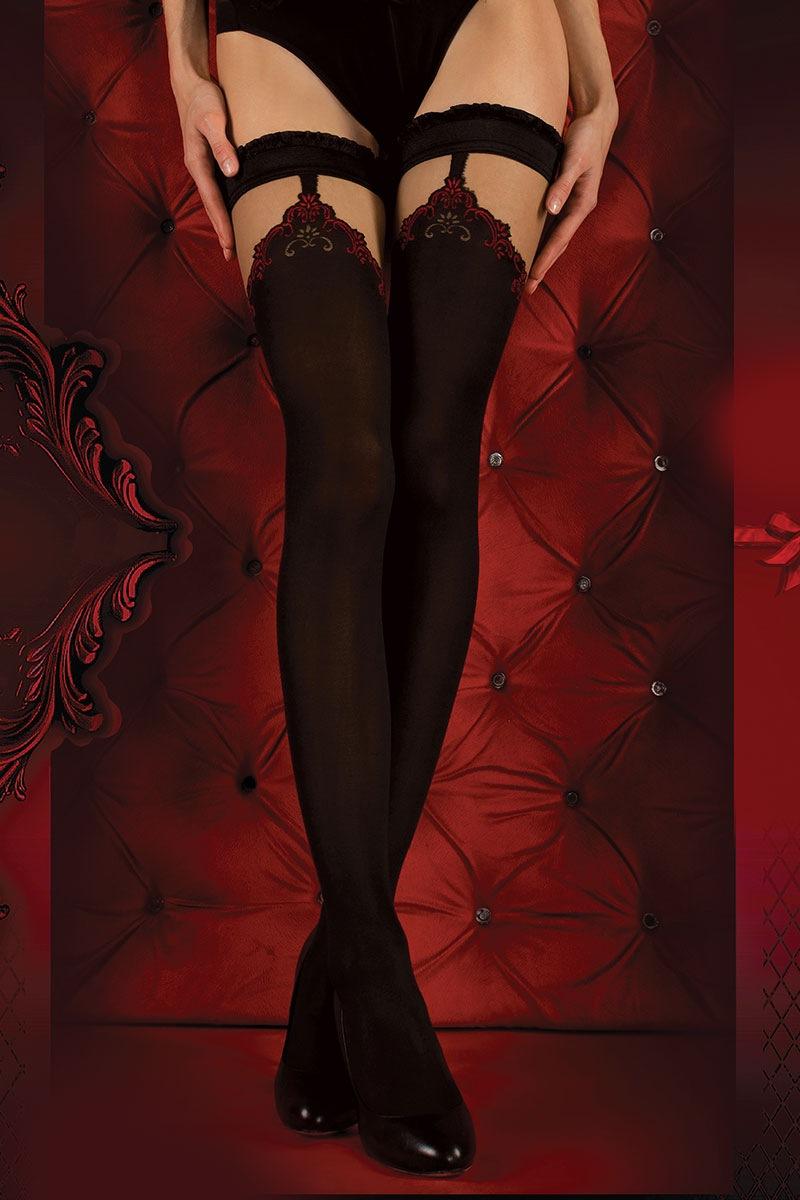 Luksusowe pończochy samonośne Red Intense 345 - RedIntens345_pun