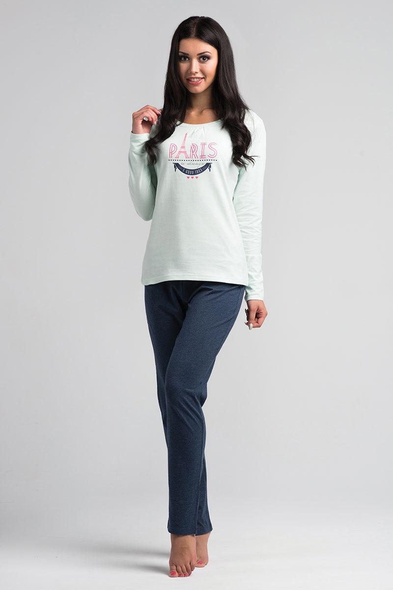 Damska bawełniana piżama Paris Mint - SalPy1022Mint_pyz