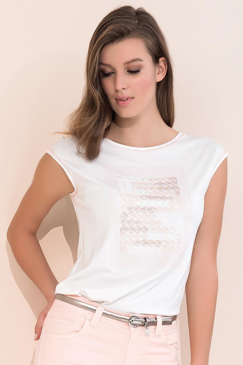 Elegancka damska bluzka z krótkim rękawem - Scarlet006_tri