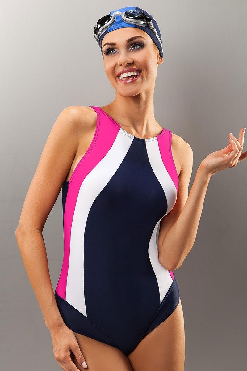 Damski jednoczęściowy kostium pływacki Sevila - SevillaNavypink