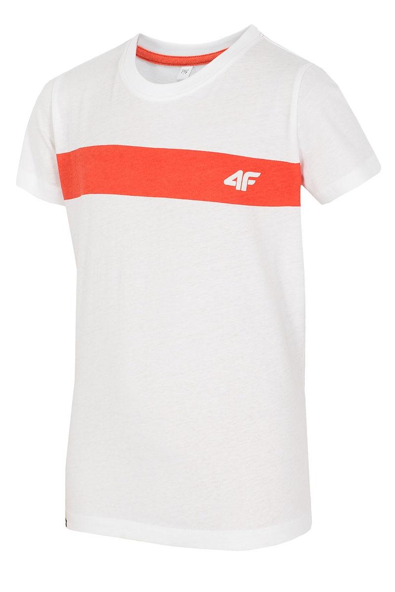 Dziecięcy T-shirt bawełniany White 4F - Z16_JTSM001_B_tri