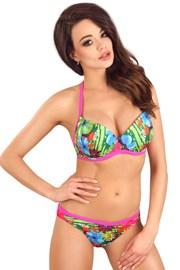 Dwuczęściowy kostium kąpielowy Flowers Pink z żelowym biustonoszem