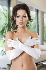 Rękawiczki Astrid satynowe białe