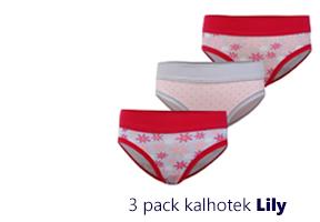 3 pack dětských, dívčích kalhotek Lily