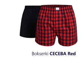 Dwupak luźnych męskich bokserek CECEBA Red